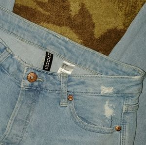 H & M Divided Frayed Ripped Ankle Jeans